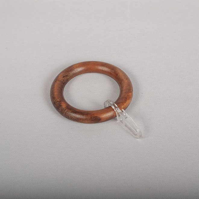 Žiedai karnizui BERGAMO Ø28mm med. su kabliukais tams. ąžuolo sp.