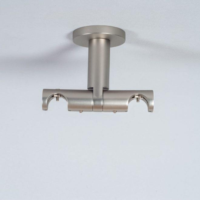 Laikiklis karnizui ASPEN-NOVA H8,5cm L8cm Ø19-19mm į lubas dvigubas šv. mat. sidabro sp.