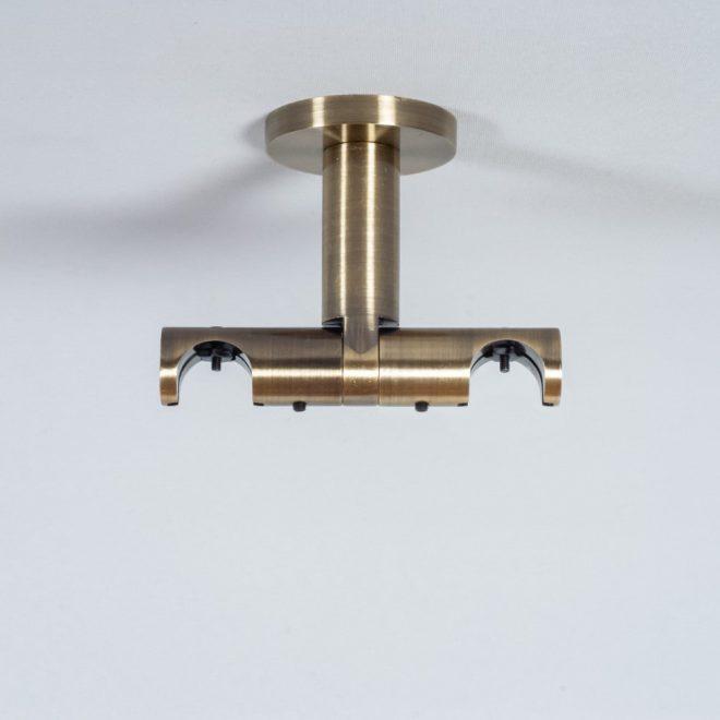Laikiklis karnizui ASPEN-NOVA H8,5cm L8cm Ø19-19mm į lubas dvigubas šv. send. aukso sp.