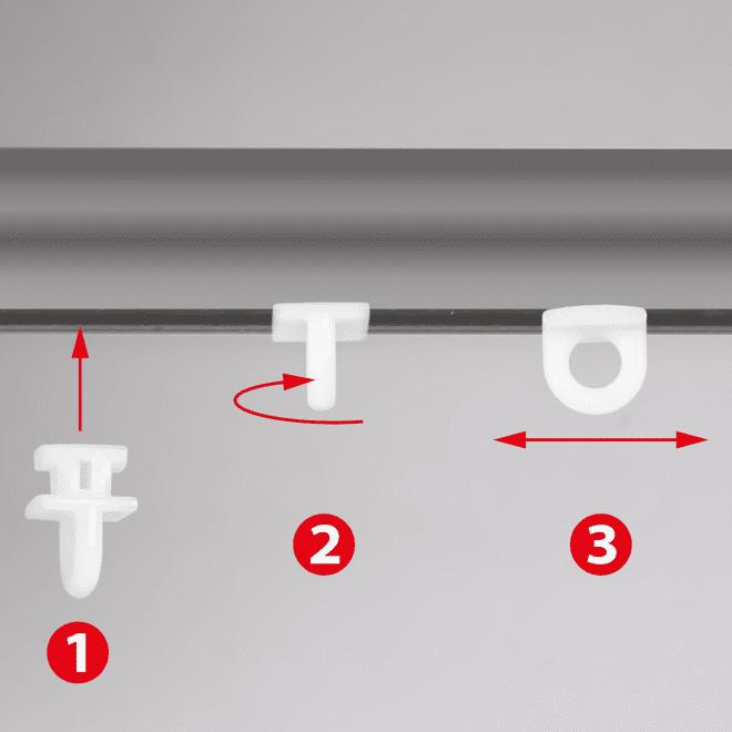 Plast. slankiojanti kilputė TWIST įstatoma pasukama kabliukui ir met. segtukui baltos sp. Nr.100 2