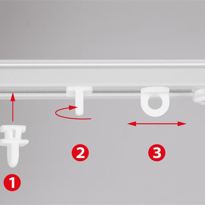 Plast. slankiojanti kilputė TWIST įstatoma pasukama kabliukui ir met. segtukui baltos sp. Nr.100 U