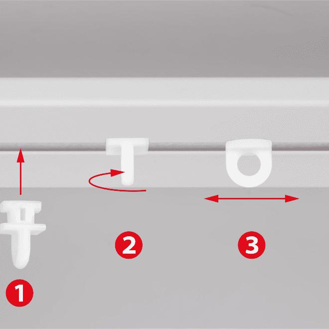 Plast. slankiojanti kilputė TWIST įstatoma pasukama kabliukui ir met. segtukui baltos sp. Nr.100