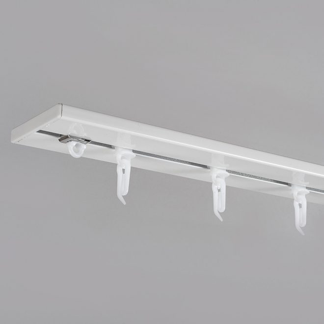 Aliuminio sistema UNIVERSAL-PROFILIS 1 ir 2 bėgelių sukomplektuotas baltos sp.