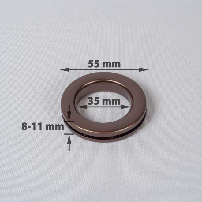 Žiedas suspaudžiamas užuolaidoms UNIVERSAL karnizo vamzdžiui Ø25-28mm mat. rudos sp.