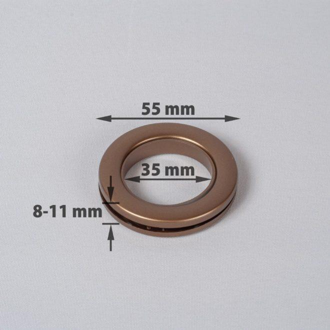 Žiedas suspaudžiamas užuolaidoms UNIVERSAL karnizo vamzdžiui Ø25-28mm send. aukso sp.