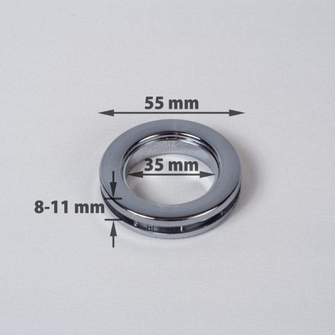 Žiedas suspaudžiamas užuolaidoms UNIVERSAL karnizo vamzdžiui Ø25-28mm titano sp.