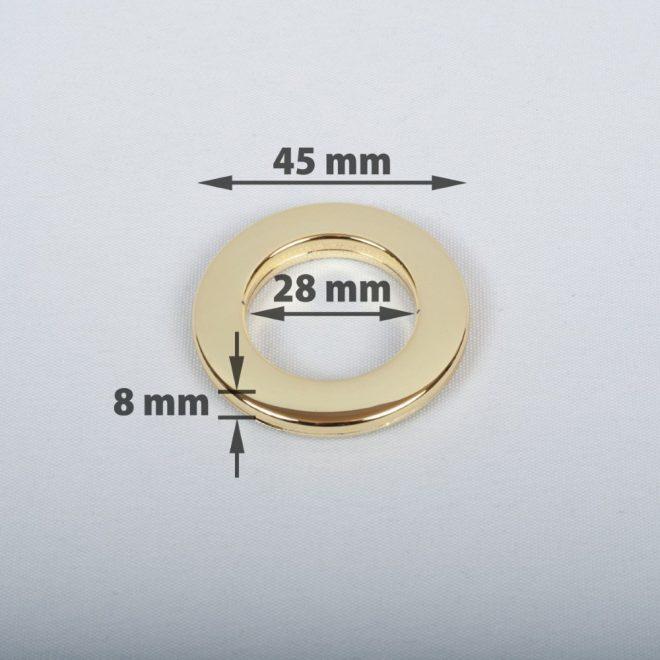 Žiedas suspaudžiamas užuolaidoms karnizo vamzdžiui Ø16-20mm blizg. aukso sp.