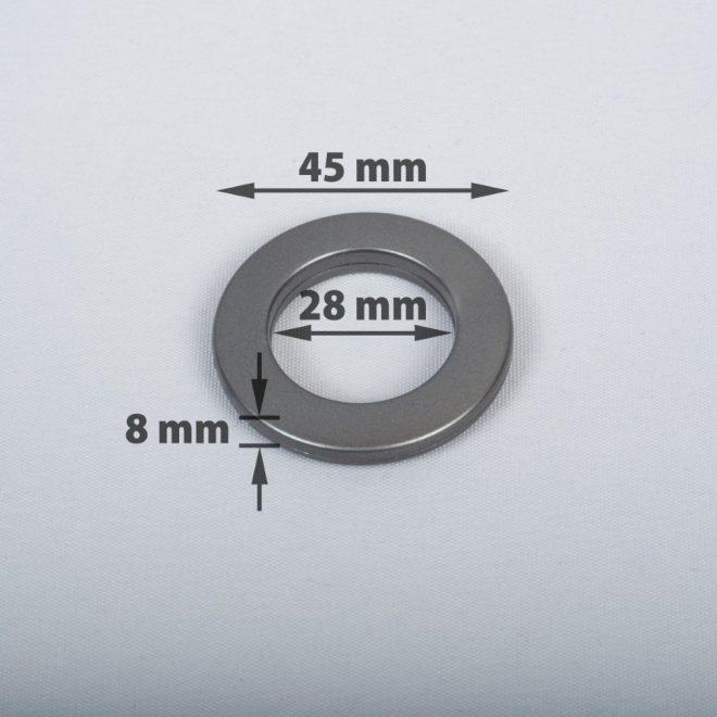 Žiedas suspaudžiamas užuolaidoms karnizo vamzdžiui Ø16-20mm grafito sp.