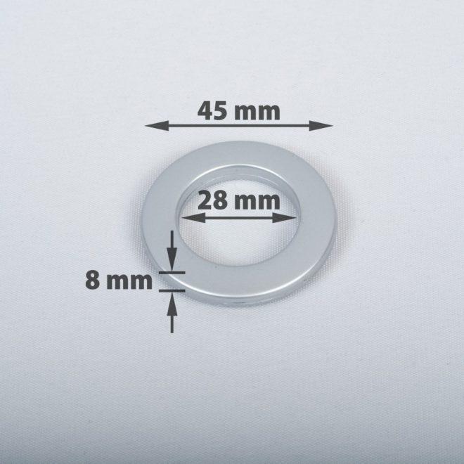 Žiedas suspaudžiamas užuolaidoms karnizo vamzdžiui Ø16-20mm mat. chromo sp.