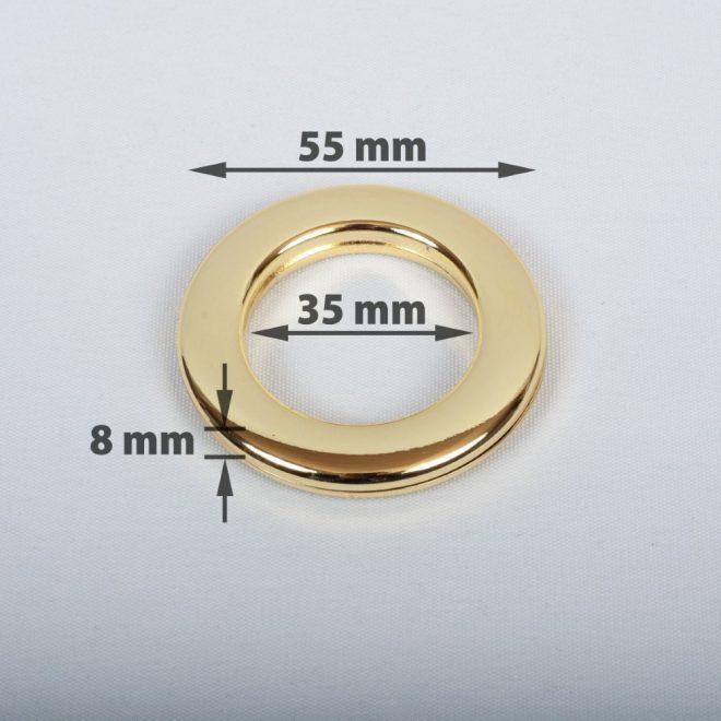 Žiedas suspaudžiamas užuolaidoms karnizo vamzdžiui Ø25-28mm blizg. aukso sp.