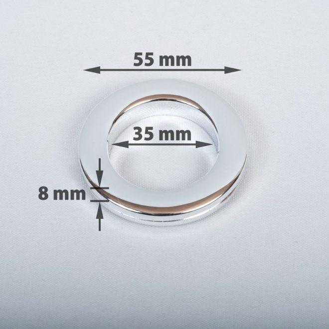 Žiedas suspaudžiamas užuolaidoms karnizo vamzdžiui Ø25-28mm blizg. chromo sp.