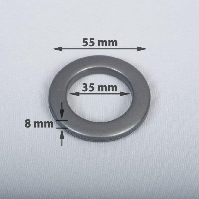 Žiedas suspaudžiamas užuolaidoms karnizo vamzdžiui Ø25-28mm grafito sp.