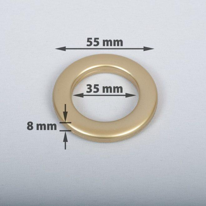 Žiedas suspaudžiamas užuolaidoms karnizo vamzdžiui Ø25-28mm mat. aukso sp.