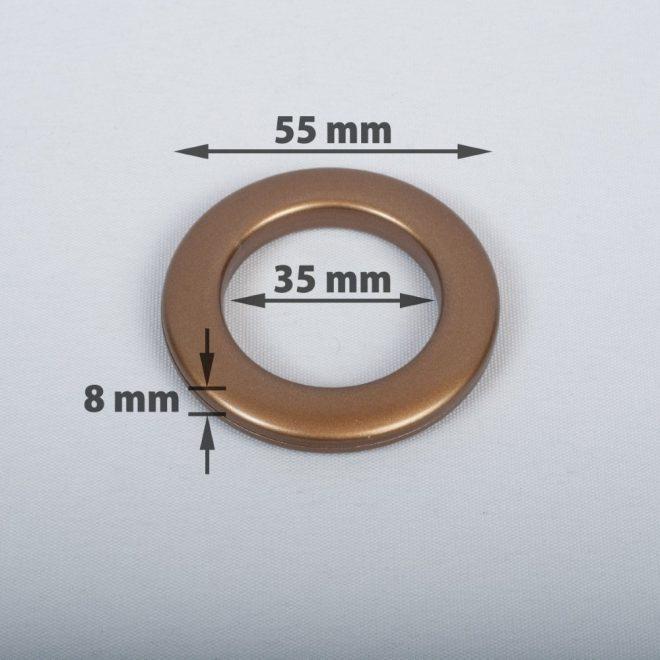Žiedas suspaudžiamas užuolaidoms karnizo vamzdžiui Ø25-28mm send. aukso sp.